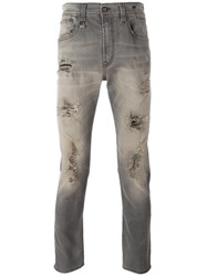 R 13 R13 Ripped Slim Fit Jeans Grey