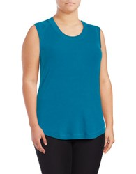 Melissa Mccarthy Seven7 Plus Ribbed Knit Tank Top Turquoise