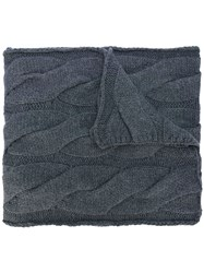 Polo Ralph Lauren Cable Knit Scarf Cotton Nylon Wool Grey