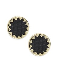 House Of Harlow Leather Starburst Button Earrings Black