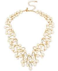 Inc International Concepts M. Haskell For Gold Tone Imitation Pearl And Crystal Vine Statement Necklace Only At Macy's