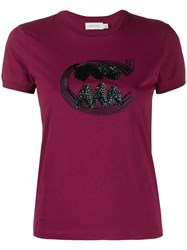 Coach Sequin Embroidered T Shirt Pink