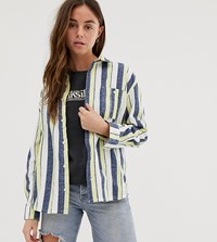 Quiksilver Striped Overshirt Long Sleeved In Grey