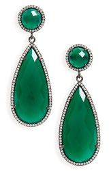Susan Hanover Women's Semiprecious Stone Teardrop Earrings Emerald Green Black Silver