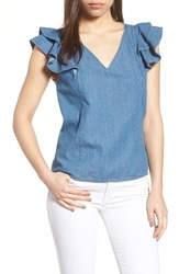 Draper James Casual Chambray Ruffle Sleeve Top