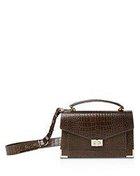 The Kooples Emily Croc Embossed Leather Medium Crossbody Khaki