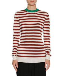 Marni Striped Cashmere Crewneck Sweater White