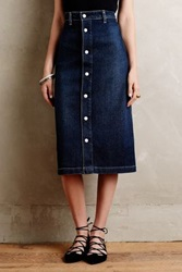 Anthropologie Alexa Chung For Ag Denim Midi Skirt Tinted Denim 26 Skirts