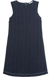 Alexander Wang T By Frayed Pinstriped Cotton Burlap Mini Dress Navy