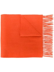 N.Peal Woven Cashmere Scarf Orange