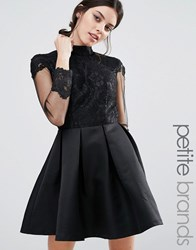 Chi Chi Petite London High Neck Lace Bodice Long Sleeve Prom Dress Black