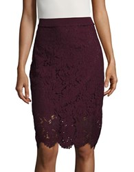 Imnyc Isaac Mizrahi Floral Lace Pencil Skirt Deep Plum