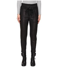 The Kooples Sport Leather Effect Fleece Banded Sweatpants Black