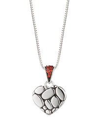 John Hardy Kali Lava Heart Pendant Necklace W Red Sapphires