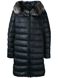 Liska Goose Feather Down Coat Women Feather Down Fox Fur Polyester Goose Down M Black