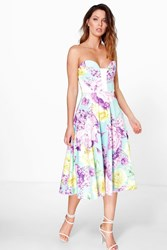 Boohoo Floral Sweetheart Bandeau Midi Skater Dress Multi
