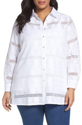 Foxcroft Plus Size Women's Circle Eyelet Tunic Shirt White