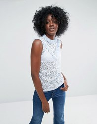 Asos Top In Lace With Ruffle Neck In Sleeveless Blue