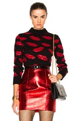 Saint Laurent Lips Embroidery Sweater In Black Red Abstract Black Red Abstract
