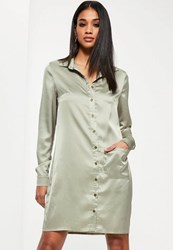 Missguided Tall Exclusive Green Satin Oversized Pocket Shirt Dress