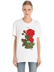 Off White Roses Embroidered Cotton Jersey T Shirt