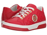 Love Moschino Sneaker W Gold Emblem Red Women's Lace Up Casual Shoes