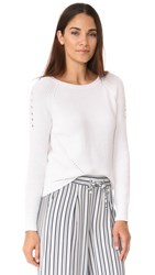 525 America Crop Shaker Crew Lace Up Top White