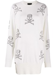 Philipp Plein Skull Jumper Dress White