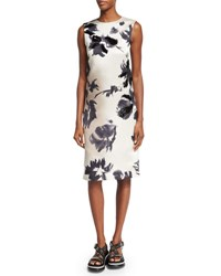 Marc Jacobs Brushstroke Floral Print Sheath Dress Gray