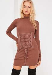 Missguided Brown Corset Lace Up Detail Mini Dress Clay