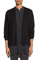 Petite Women's Eileen Fisher Zip Front Merino Wool Cardigan Charcoal