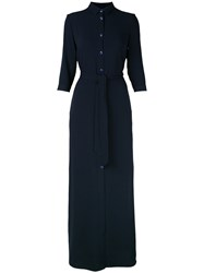Tonello Maxi Shirt Dress Women Polyester Viscose 42 Blue