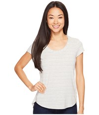 Columbia All Who Wander Short Sleeve Top Chalk Heathered Stripe Women's Short Sleeve Pullover White