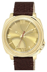 Vince Camuto Multifunction Leather Strap Watch 50Mm Brown Gold