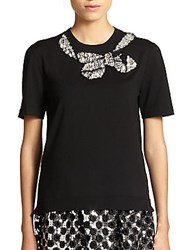 Marc Jacobs Jeweled Bow Sweater Black