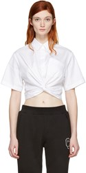 Alexander Wang T By White Twist Short Sleeve Cropped Shirt