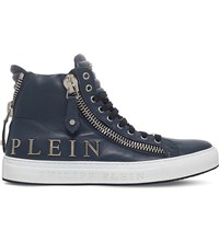 Philipp Plein Vibes Leather High Top Trainers Navy