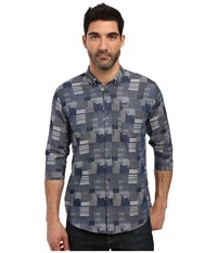 Publish Stanton 3 4 Sleeve Full Button Up Navy Men's Short Sleeve Button Up