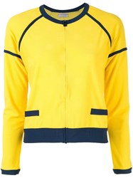 Chanel Vintage Contrast Bomber Jacket Yellow