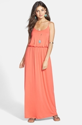 Lush Aztec Print Maxi Dress Juniors Bright Coral