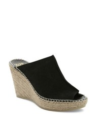 Andre Assous Cici Espadrille Wedge Suede Mules Black