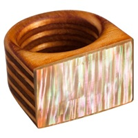 Sticks And Stones Maple Wood Ring Green Ripple Abalone