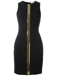 Versace Collection Gold Stripe Mini Dress Black