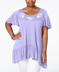American Rag Plus Size Embroidered Handkerchief Hem Top Only At Macy's Jacoranda
