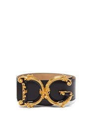 Dolce And Gabbana Baroque Monogram Buckle Wide Leather Belt Black Gold