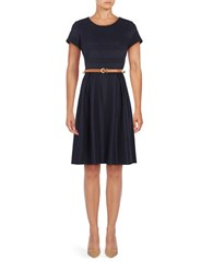 Chetta B Belted Fit And Flare Dress Navy