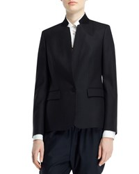Stella Mccartney Fleur Stand Collar One Button Jacket Navy Size 46 It 10 Us