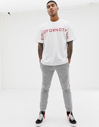 Good For Nothing Oversized T Shirt With Large Logo In White