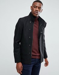 Only And Sons Asymmetric Wool Overcoat Black