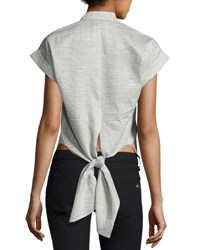 Rag And Bone Ara Short Sleeve Crinkle Tie Back Blouse Black White Black White
